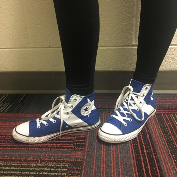 Blue high top converse with star and stripe detail